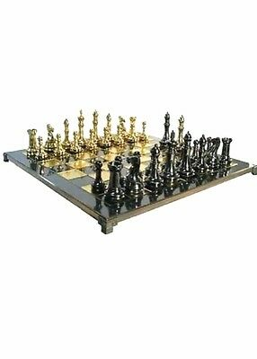 "High End Deluxe Ultraweight Luxury Brass Chess Set 4"" King ~ Great Gift Idea"