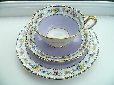 Stunning Vintage Aynsley China Trio Tea Cup Saucer Plate Lilac 4176