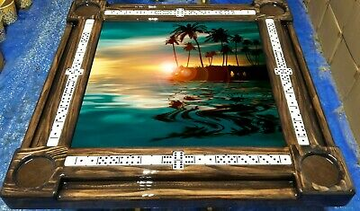 Domino Tables by Art with Tropical Beach Sunset & Palm Personalized for You!