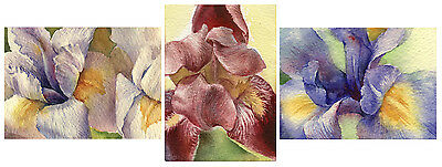 Watercolor painting print - Iris flower painting ACEO Artist Trading Card (3x)