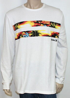 Hurley Block Party Waffle Knit Thermal Mens White Long Sleeve Shirt New NWT XXL