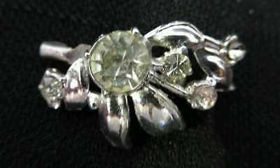 Vintage Brooch Pin Costume Jewelry Silver Colored Leaf Rhinestone Bouquet