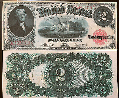 Reproduction Copy $2 Bill 1917 United States Note Jefferson 2 Dollars US Capitol