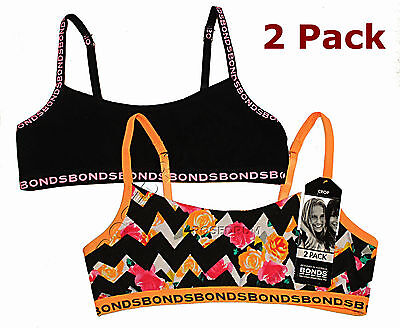 2x BONDS GIRL KIDS SIZE 8, 10, 12, 14, 16 COTTON CROP TOP TRAINING BRA UNDERWEAR