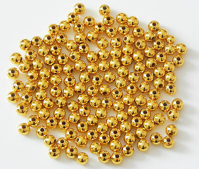 SMOOTH GOLD PLATED ROUND BALL SPACER BEADS CHOICE OF 2.4mm 3mm 4mm 5mm 6mm 8mm