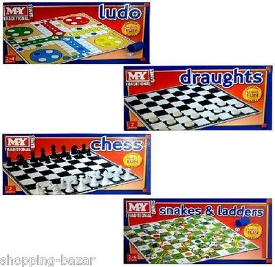Childrens Kids Family Board Games Snakes &Ladders Draughts Ludo Chess Traditonal
