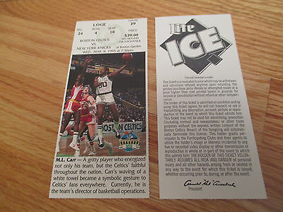 Game 29 M.L. CARR Last Season BOSTON CELTICS 3/8/95 TICKET Boston Garden