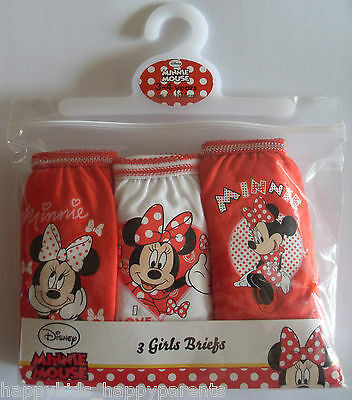 Girls Disney MINNIE MOUSE Briefs Knickers 18m 2 3 4 5 6 7 8 Years Pack of 3