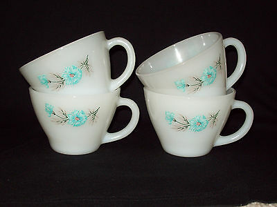 Vintage Fire king Blue Carnation Coffee Cups Set of Four