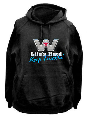 WESTERN STAR TRUCK  'Lifes hard keep truckin'  FLEECY HOODIE BLack