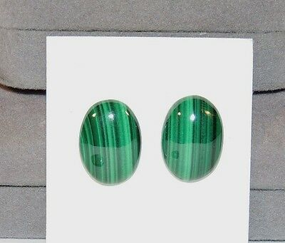 Malachite 13x18mm Cabochons Set of 2 from Africa (7565)