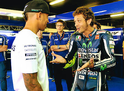 VALENTINO ROSSI Autograph SIGNED Large 16x12 Photo with Lewis Hamilton AFTAL COA