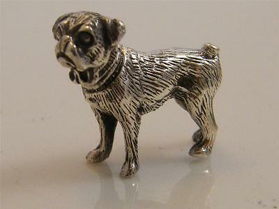 Sterling 925 Silver Miniture Pug Dog Figurine