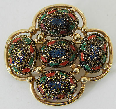 Vintage Gold Tone & Mulit-Colored Ornate Enamel Brooch By Sarah Coventry