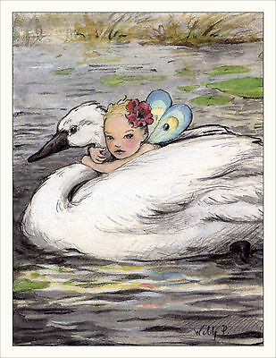 Note Card SWAN by Wee Forest Folk, WFF# Note-12, One Card & Envelope