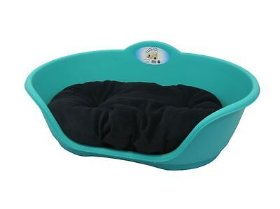 LARGE Plastic TEAL AQUA GREEN Pet Bed With BLACK Cushion - Dog Cat Sleep Basket