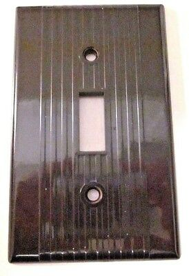 Vintage Leviton Ribbed Lines Brown Bakelite Switch Plate Cover Deco Excellent