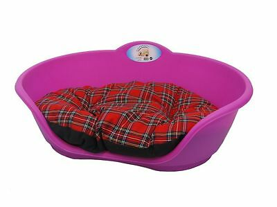 LARGE Plastic FUCHSIA PINK Pet Bed With RED TARTAN Cushion Dog Cat Sleep Basket