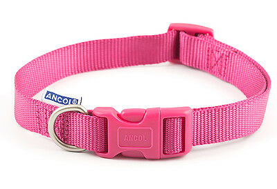 ancol nylon adjustable dog collar raspberry 3 sizes