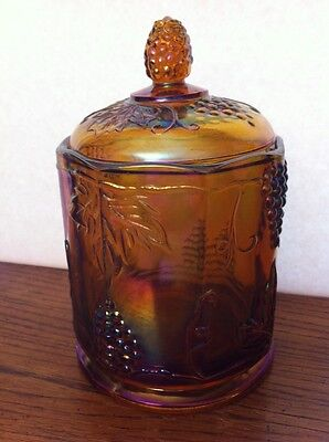 """Indiana Glass Carnival """"Harvest"""" Marigold Iridescent Purple Lidded CANISTER 7""""t"""