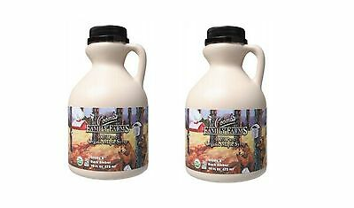 2 x 473ml COOMBS FAMILY FARMS 100% Organic Pure Maple Syrup Grade A Dark Amber