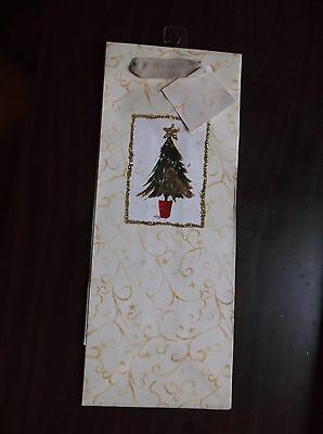 "LOT OF 3: CHRISTMAS TREE W/GLITTER GIFT BAG-WINE/LIQUOR BOTTLE 5"" X 13""--"