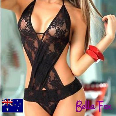 Teddy Bodysuit Lace Bodice Hot Lingerie Sexy Costume Naughty Underwear Black