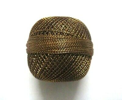 Brown with Gold Lurex - 20 grams Cotton Yarn Thread- Crochet Embroidery Knitting