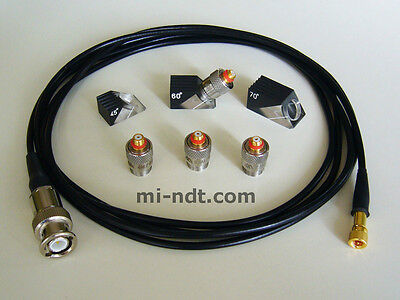 4x Quick Change Ultrasonic Transducers with cable + 3x Wedge 6mm 0.25""
