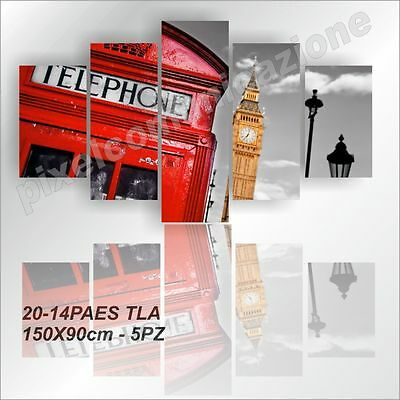 Quadro Moderno Tela 5 Pz 150X90 Arredo  Londra Red Big Ben London Westminster