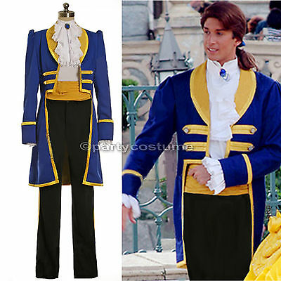 Mens Royal Prince Charming Beauty and The Beast Adult Cosplay Costume S-PLUS SZ