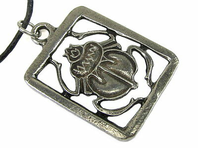 Scarab Pewter Pendant on Cord Necklace  #NI-MNL526