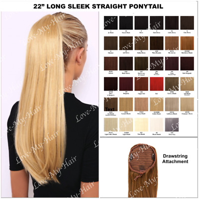 "Superior 22"" Long Straight Sleek Ponytail Comb & Drawstring (B11) SAME DAY DISP"