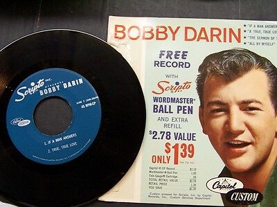 "BOBBY DARIN 45 RPM ep w/ps Scripto Free Record ""If a Man Answers"" VG++ cond."