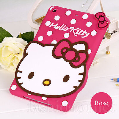 Cute Rose HelloKitty Cat Silicone Soft Back Case Cover for iPad Mini 2