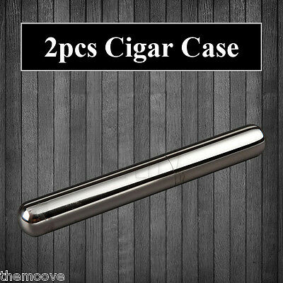 2x Stainless Steel Cigar Tube Case Tobacco Holder Smoke Container Free shipping
