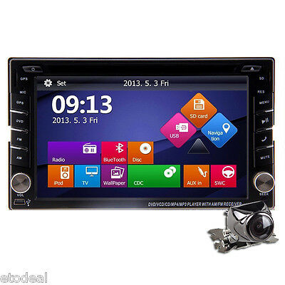 "Double 2Din In Dash Deck Car DVD Radio Player 6.2"" GPS Touch BT iPod Stereo+ Cam"