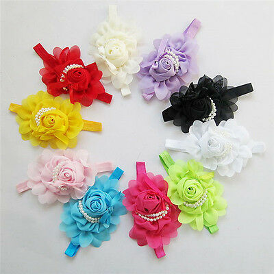 10pcs Baby Toddler Infant Flower Girl Headband Hair Bow Band Hairband Head Bows