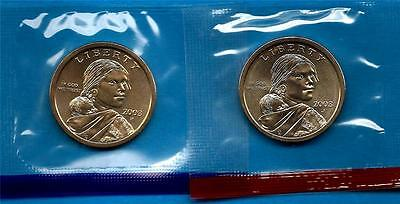 2003 P and D BU Sacagawea Native American Dollars - Two Coin Set -In mint cellos