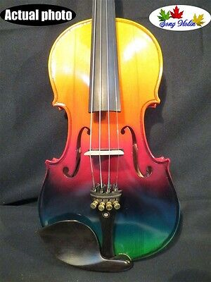 Colorful electric & acoustic violin 4/4 perfect sound #9069