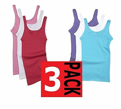 Bonds Kids Girls 3 Pack Teena Cotton Singlet Singlets Vest Vests White Blue Top