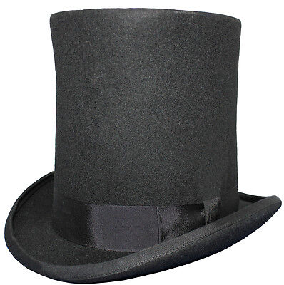 """New Black 8"""" Tall Stove Pipe 100% Wool Felt Wedding Event High Top Lincoln Hat"""