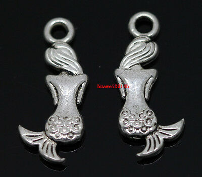 Wholesale lot 20pcs Tibet Silver two-sided Mermaid jewelry Charms Pendant 20x8mm