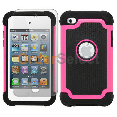 Hybrid Rubber Case+LCD Screen Protector for Apple iPod Touch 4 4th Pink 50+SOLD