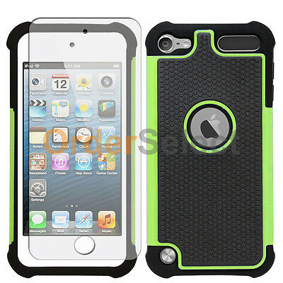 Hybrid Rubber Case+LCD Screen Protector for Apple iPod Touch 5 5th Green 50+SOLD