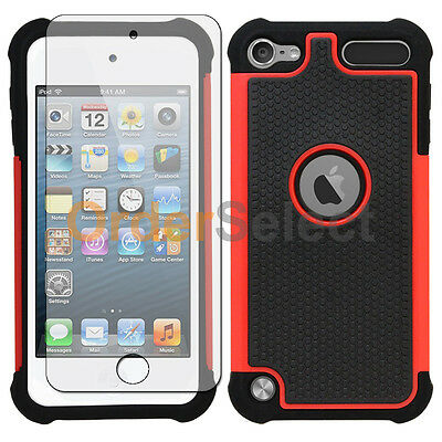 NEW Hybrid Rubber Case+LCD HD Screen Protector for Apple iPod Touch 5 5th Red