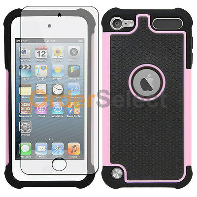 NEW Hybrid Rubber Case+LCD HD Screen Protector for Apple iPod Touch 5 5th Pink