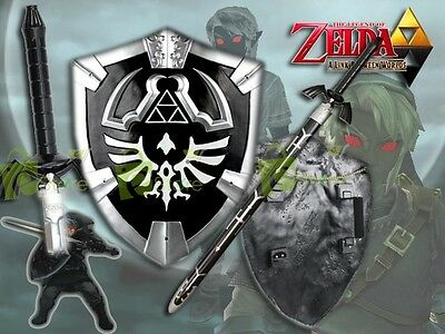 Black Legend of Zelda Dark Links Twilight Princess Master Sword & Shield Set New