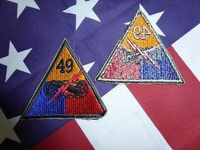 PATCH INSIGNE ORIGINAL WW2 49th ARMORED DIVISION ( NORMANDIE blinde char tank
