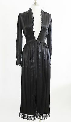 Vintage Hand Made Black Silk Charmeuse Lace Trimmed Robe Costume Small